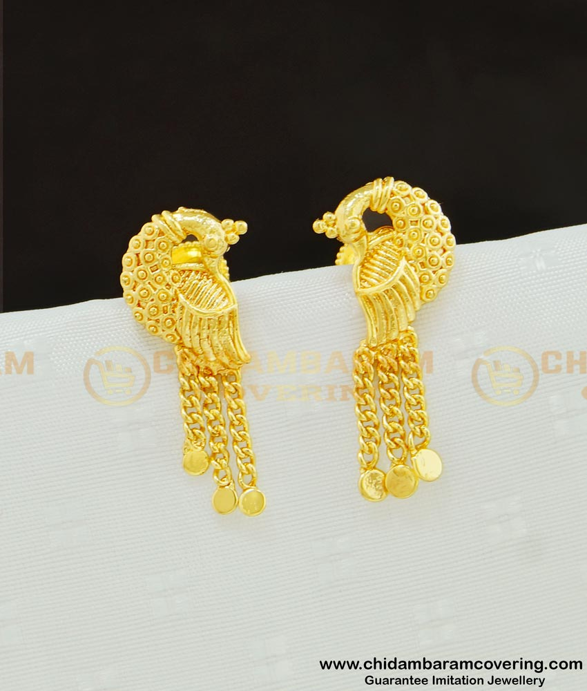 ERG611 - Light Weight Peacock Design Earrings Guaranteed Jewellery Buy Online