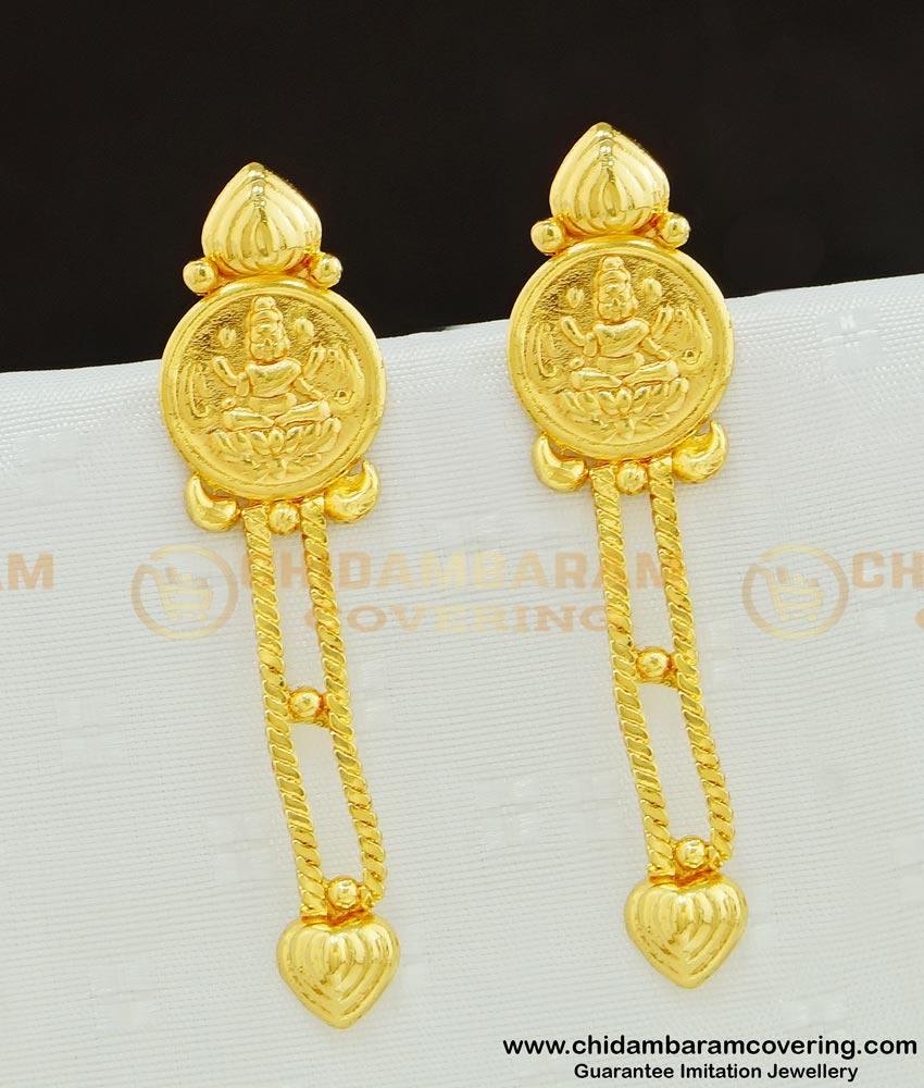 ERG613 - New Gold Pattern Lakshmi Design Long Dangle Earrings for Women