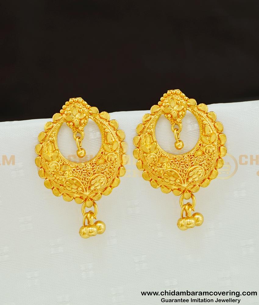 ERG614 - Latest Chandbali Earring Gold Design Gold Plated Earring Online Shopping