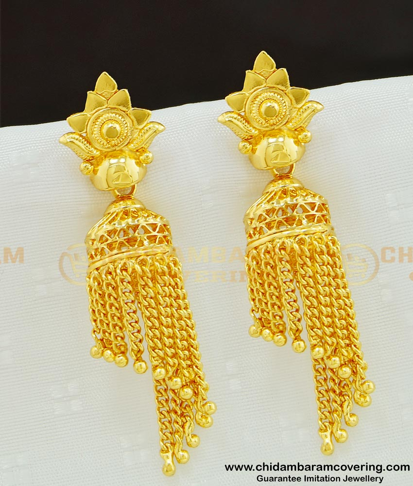 ERG615 - First Quality Gold Design Hanging Chain Jhumka Earing One Gram Gold Jewellery