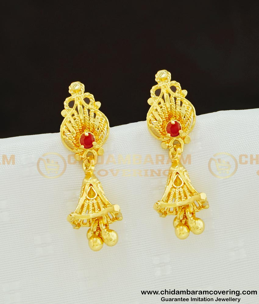 ERG616 - South Indian Style Ruby Stone Gold Design Jhumka Earrings Online