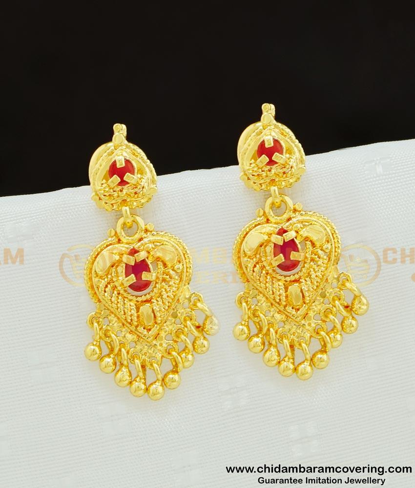 ERG618 - Modern Danglers Earring Pure Gold Plated Ruby Stone Earring For Women