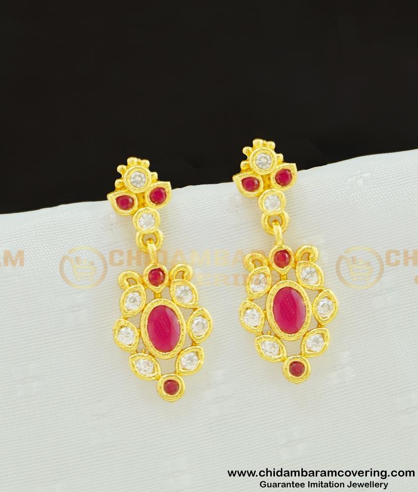 ERG619 - Sparkling Diamond Dangler Earring Design One Gram Imitation Jewelry