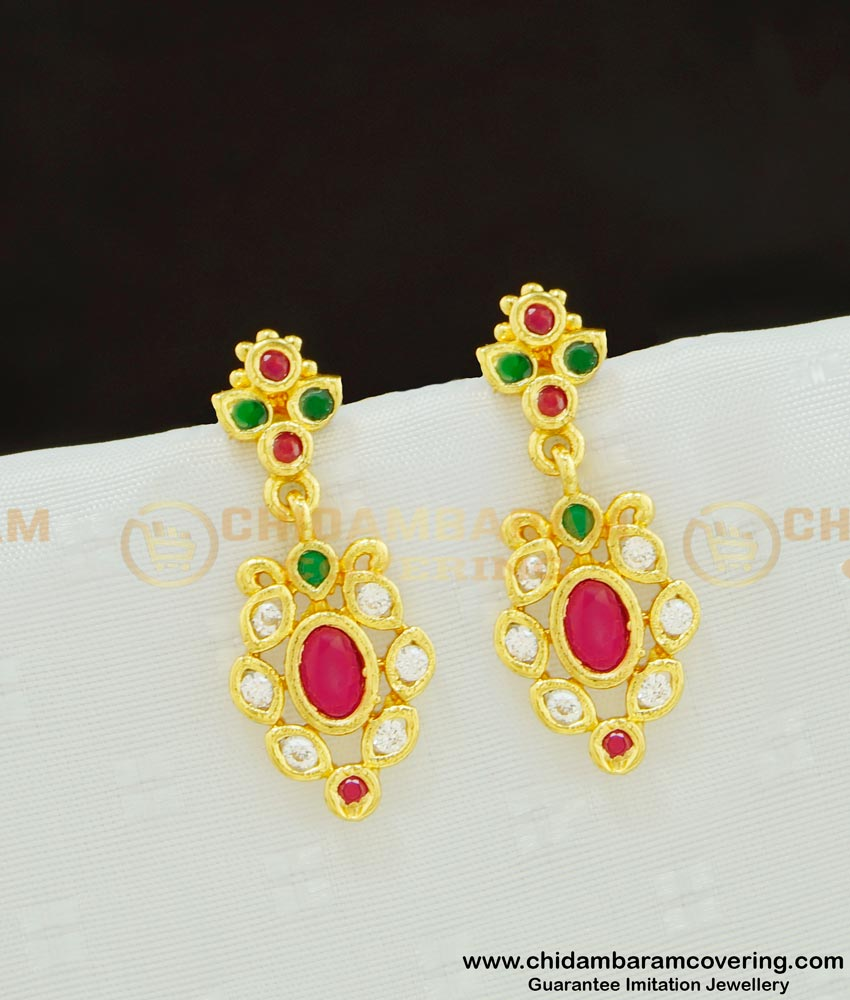 ERG620 - Latest Collection Ad Multi Stone Dangler Earring Design One Gram Imitation Jewelry