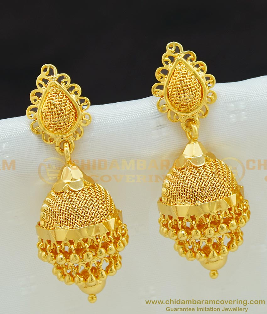 ERG659 - Stunning Gold Double Layer Hanging Golden Beads Jhumka Earing One Gram Gold Jewellery