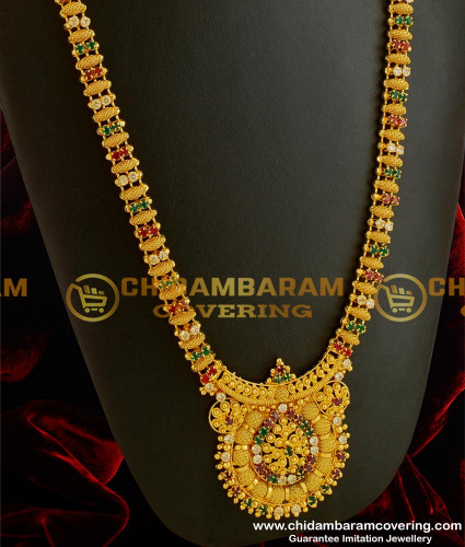 HRM039 – South Indian Gold Covering AD Multi Colour Stones Haram Traditional Designs Online