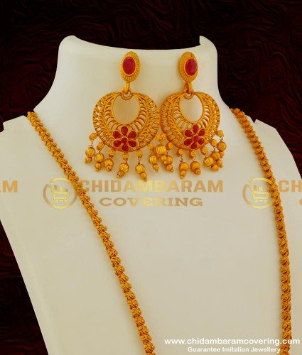 HRM041 - Ruby Stones Reddish Gold Matte Finish Chain Pendant with Chandbali Earrings Set
