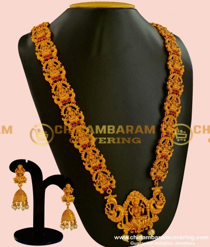 HRM043 - Temple Jewellery Antique Matte Finish Nagas Gold Plated Heavy Haram Design Online