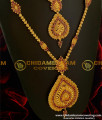 HRM060  - Ruby Stone Mogappu And Dollar With Jasmine Chain South Indian Wedding Jewellery Set