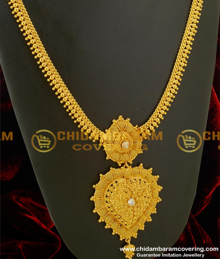 HRM074 – New Arrival Bridal Haram Design with Double Pendant and Single White Stone Each