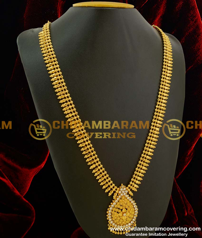 HRM078 – Kerala Style Flexible and Beads And Stone Design Gold Plated Long Haram