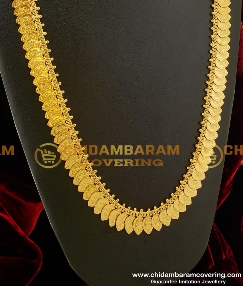 HRM081 –Traditional Lakshmi Coin Kasu Malai Leaf Shape Designs Haram South Indian Style Online