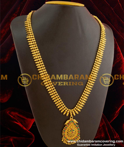 HRM090 – Kerala Style Flexible And Beads And Stone Design Gold Plated Long Haram Online