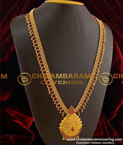 HRM092 – Full Ruby Stone Long Haram with Hanging Balls Imitation Jewelry Online