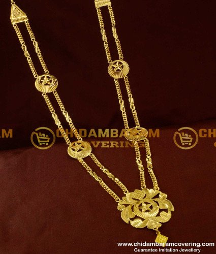 HRM108 - Crescent Moon Two Line Governor Maalai Design Gold Plated Haram