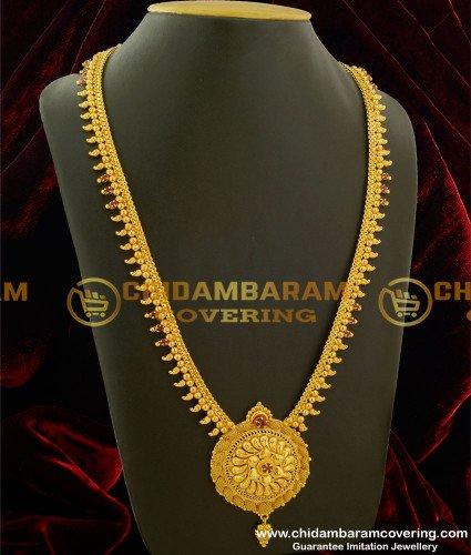 HRM132 - Elegant Ruby Stone Round Pendant Long Haram Buy Online