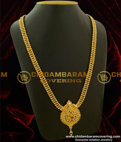 HRM146 - Gold Plated Stone Haram South Indian Imitation Haram Online