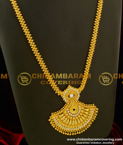 HRM155 - Gold Plated White Stone Pendant Haram South Indian Imitation Haram Online