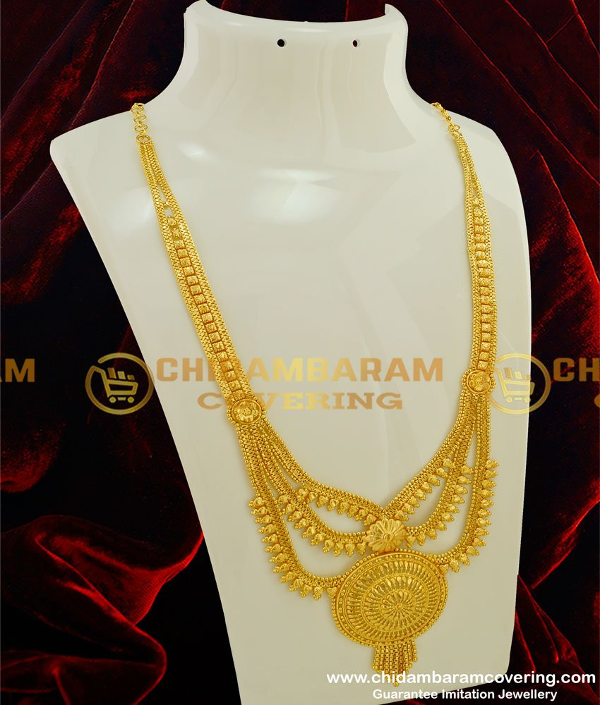 HRM197 - Real Gold Look Light Weight Step Chain Haram Three Line Bridal Haram Online
