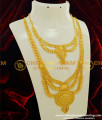 HRM198 - Traditional Bridal Wear Three Line Calcutta Haram and Necklace Combo Set