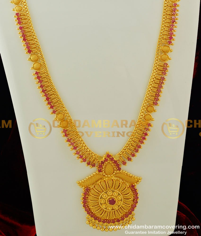 HRM246 - Beautiful Look Bridal Wear Ruby Stone Gold Plated Long Haram Buy Online