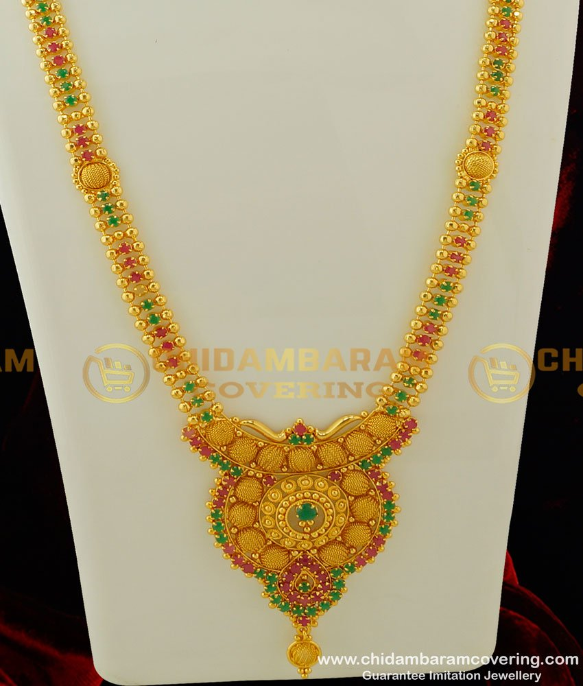 HRM247 - South Indian Gold Covering Multi Stones Haram Traditional Designs Online