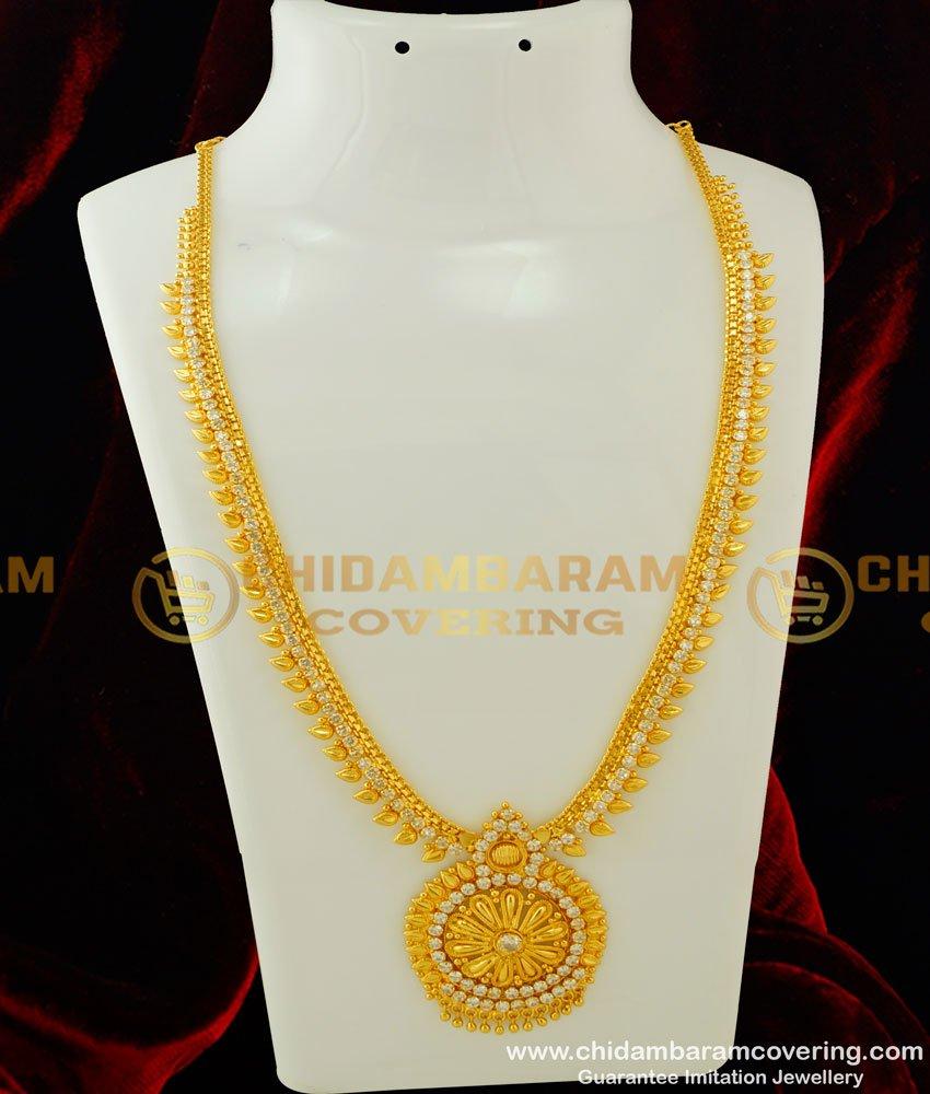 HRM249 - Elegant Party Wear White Stone Long Haram Designs Imitation Haram Online