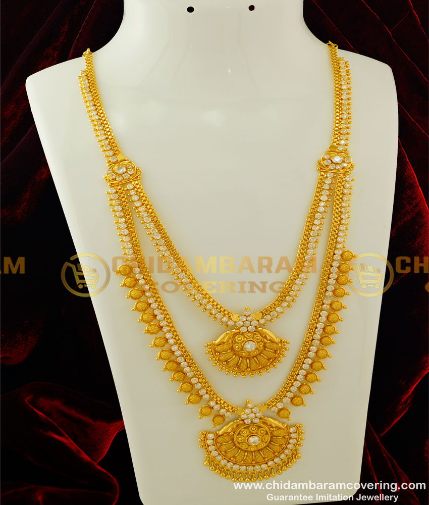 HRM274 - Grand Look AD Stone Haram Attached Necklace Double Layer Bridal Wear Haram Buy Online