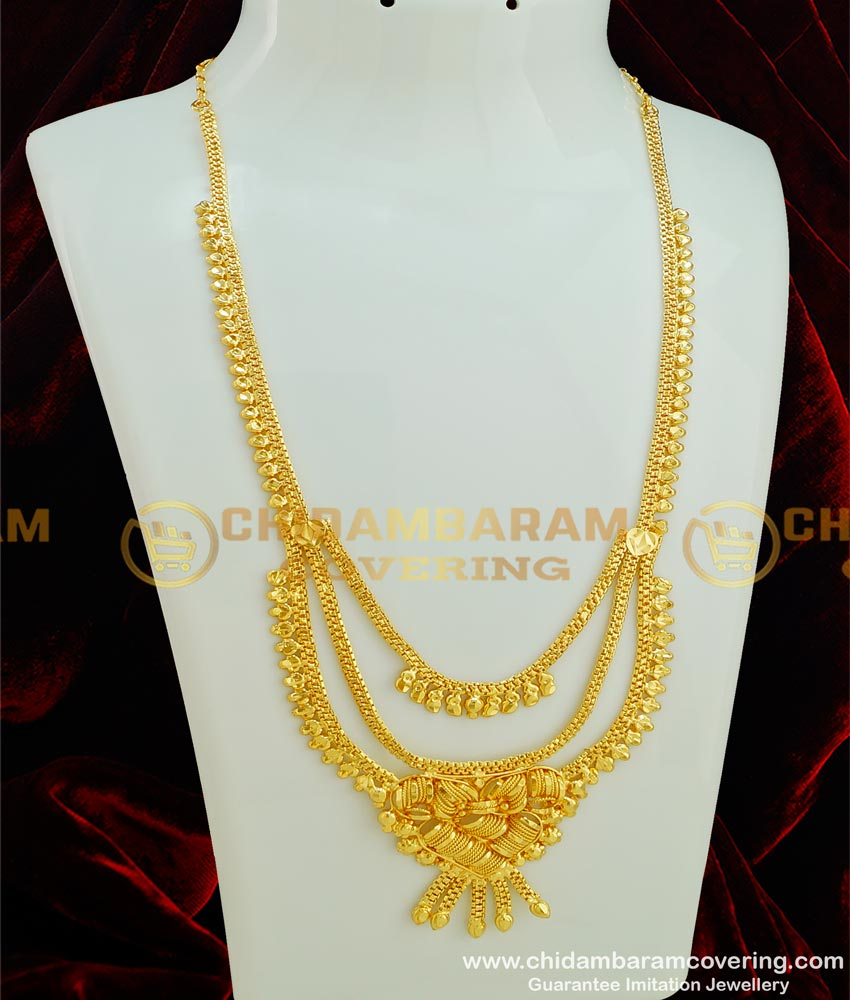 HRM286 - Real Gold Design Layered Bridal Wear 2 Gram Gold Plain Haram with Guarantee