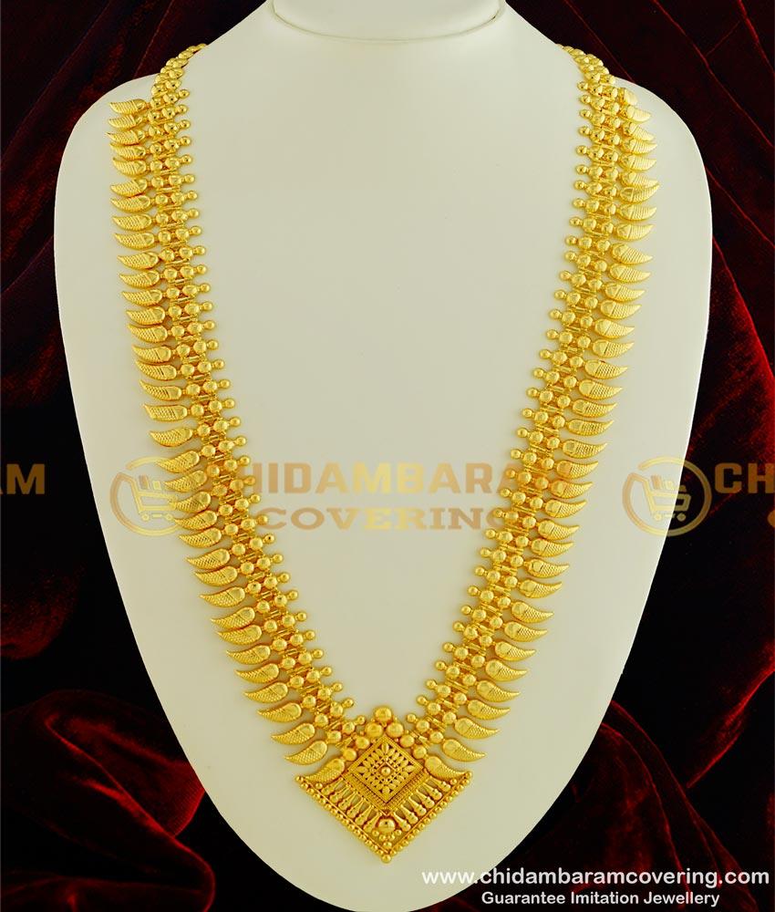 HRM325 - Latest Kerala Light Weight Mango Haram Gold Haram Design Imitation Jewellery