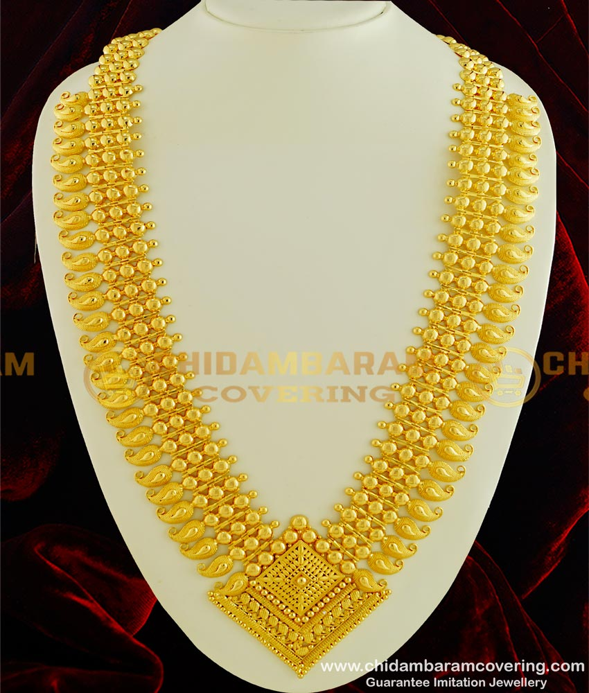 HRM330 - New Model Grand Look Stunning Gold Kerala Mango Broad Long Haram Wedding Kerala Jewellery Collection Online