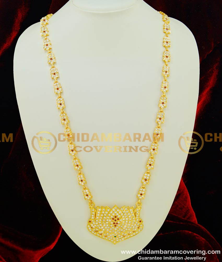 HRM343 - Attractive Five Metal First Quality Full White Stone and Ruby Stone Lotus Design 30 Inches Long Haram Buy Online
