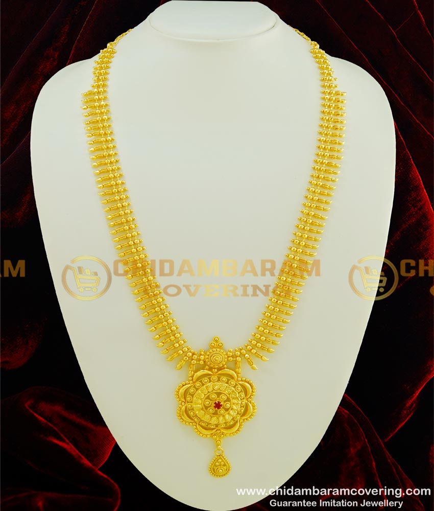 HRM351 - Trendy Real Gold Design Ruby Stone Gold Plated Long Haram for Wedding