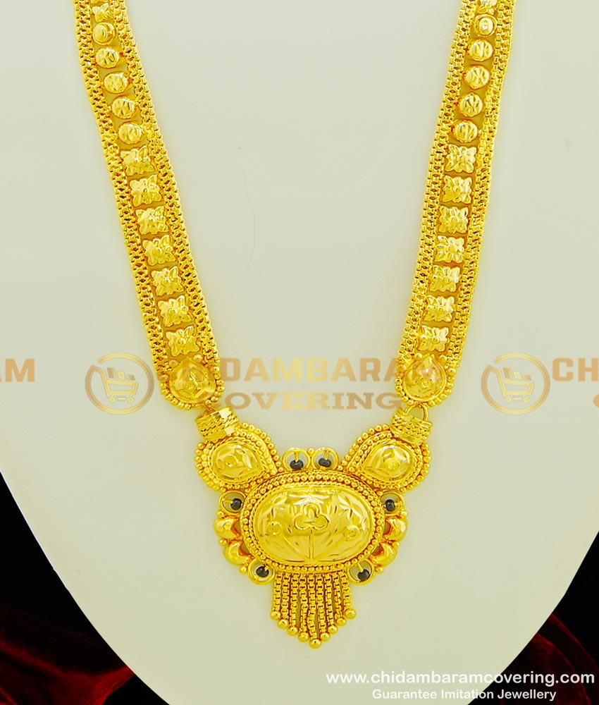 HRM355 - Traditional Gold Haram Design Black Beads Gold Plated Long Haram for Wedding