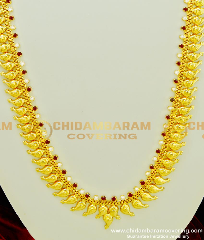 HRM356 - Traditional Ruby Stone and White Stone Mango Long Haram Design Gold Paled Jewellery