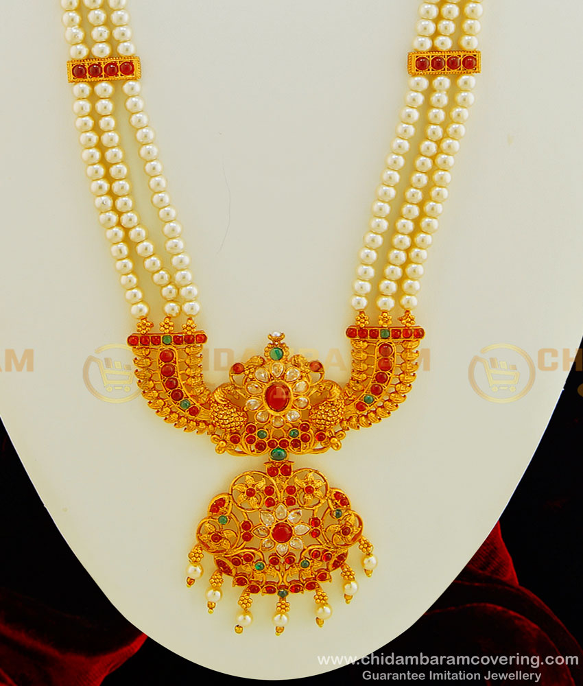 HRM432 - South Indian Temple Jewellery Hand Made Temple Kemp Stone Pearl Long Haram with Earring