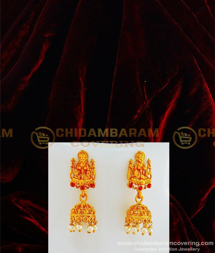 HRM433 - Latest Gold Matte Finish Kemp Stone Peacock Lakshmi Pendant Pearl Mini Temple Haram Design