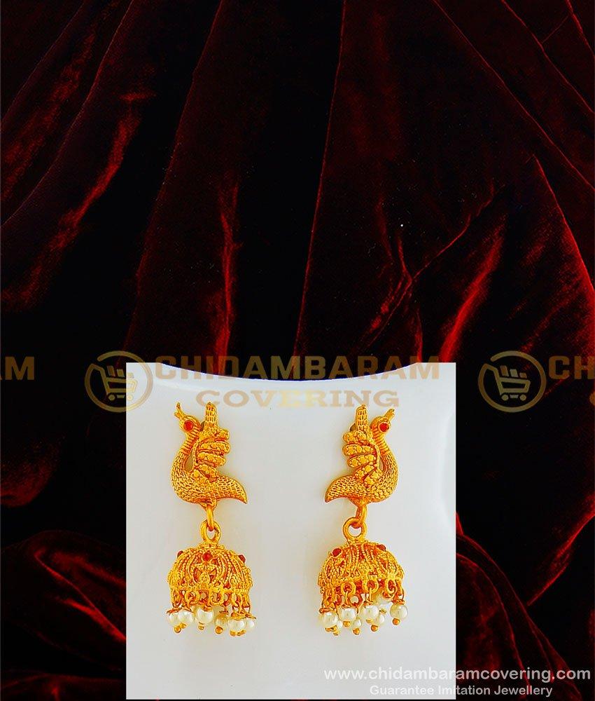 HRM434 - Premium Quality Kemp Stone Peacock Pendant Set Pearl Mala Haram with Earring Set Temple Jewellery