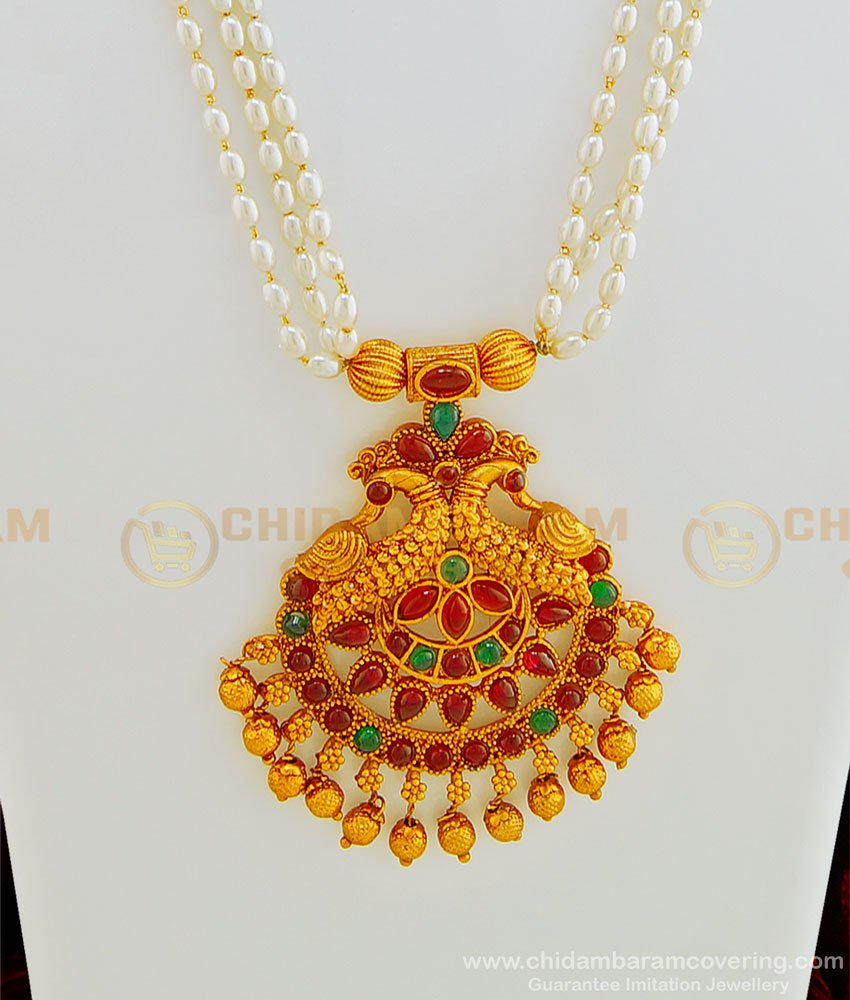 HRM436 - Premium Quality Temple Jewellery Set Kemp Stone Peacock Pendant 3 Line Pearl Mala with Earring Online