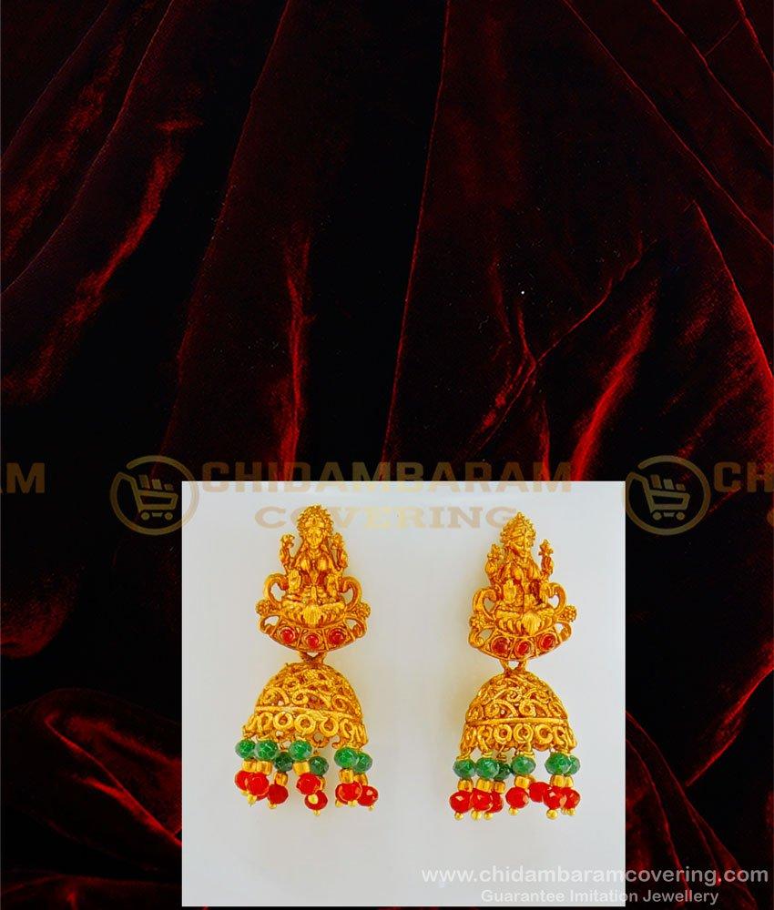 HRM437 - Temple Jewellery Nagas Kemp Stone Big Lakshmi Pendant with Earring Pearl Mala Set for Wedding