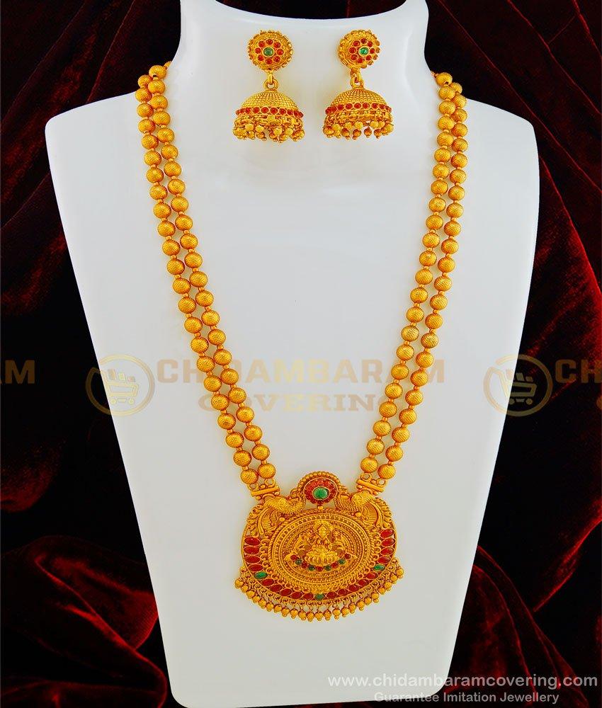 HRM438 - Nagas Jewellery Set Matte Finish Gold Design Kemp Stone Lakshmi Haaram Temple Jewellery Online