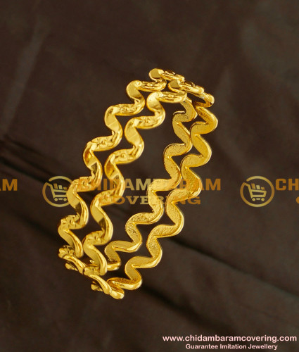 KBL014 - 2.0 Size South Indian One Gram Gold Daily Wear Neli Bangles Online