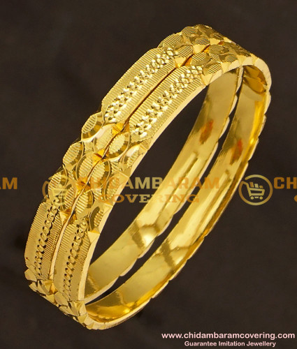 KBL020 - 1.14 Size Shining Cut Flat Bangles Gold Plated Kids Bangle Collections Online