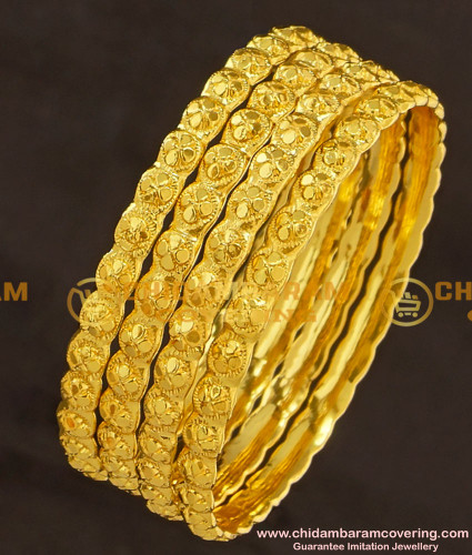 KBL025 - 1.12 Size Flower Design Kids Bangles Gold Plated Jewellery with Guarantee