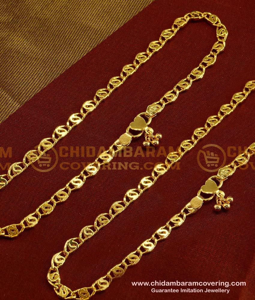 ANK012 - 10.5 Inch south Indian One Gram Gold anklet kolusu Design for women