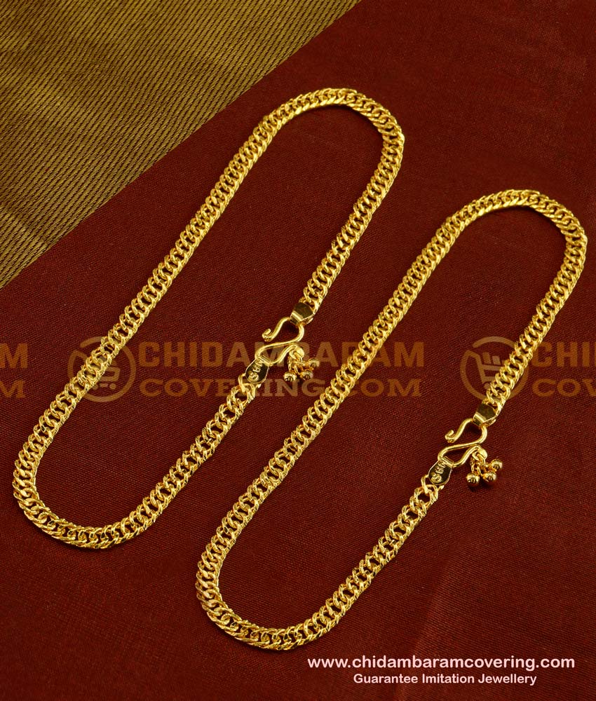 ANK014 - Bridal Wear Gold Flexible Chain Anklet Padasaram Design Buy Online