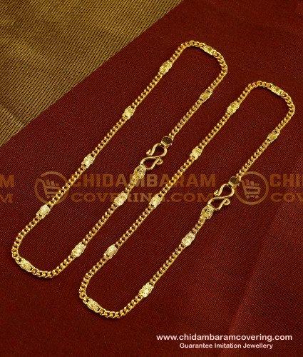 ANK015 - Fashionable Designer Gold Design Bridal Anklet Collections Buy Online