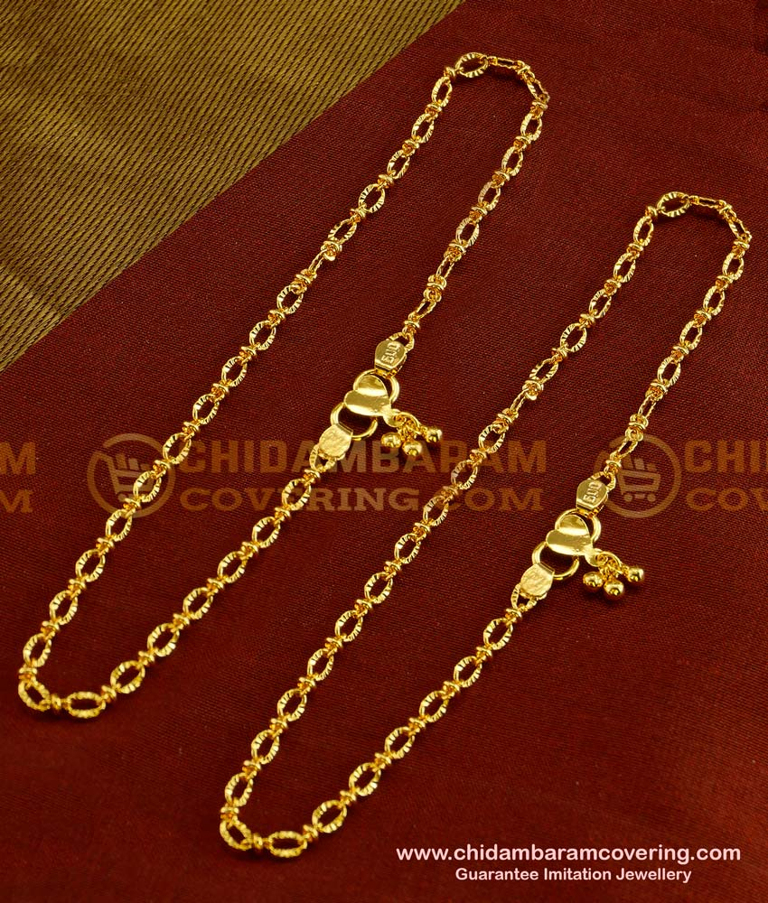 ANK020 - 10.5 Inch 1 Gm Gold Plated Simple Office Wear Anklet Design for Ladies