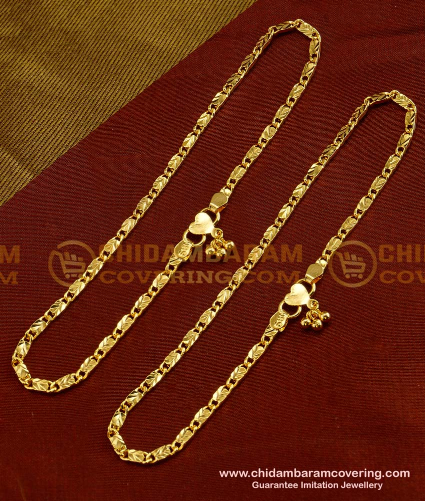 ANK022 - Light Weight  Simple Daily Wear Anklet Design Best Payal Design