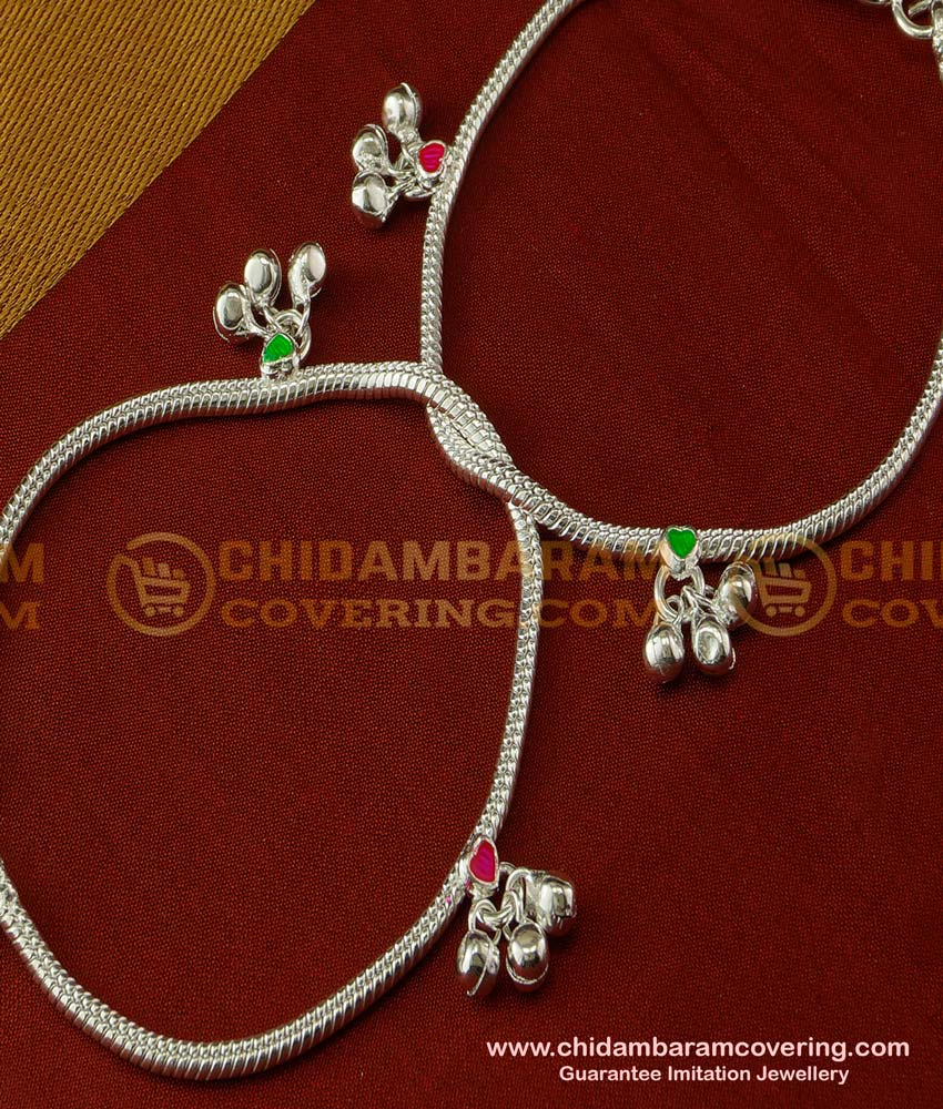 ANK026 - Stylish Look Silver Like White Metal Chain Anklet Velli Kolusu Design for Girls